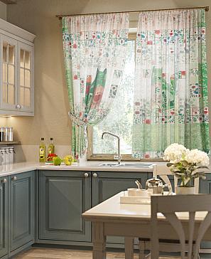Комплект штор ТомДом Кетс (зеленый) фото