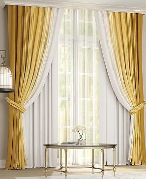 Комплект штор ТомДом Лайрис (желто-белый) фото