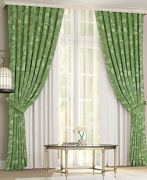 Комплект штор ТомДом Лайра (бело-зеленый) фото