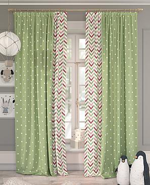 Комплект штор ТомДом Рониор (зеленый) фото
