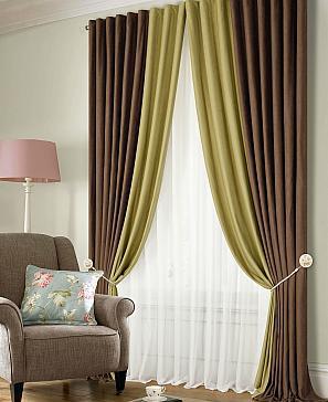 Комплект штор ТомДом Клом (коричнево-зеленый) фото