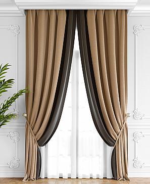 Комплект штор ТомДом Твеон (бежево-коричневый) фото