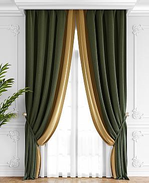 Комплект штор ТомДом Твеон (оливково-золотой) фото