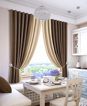 Комплект штор ТомДом Гирос (коричнево-молочный) фото