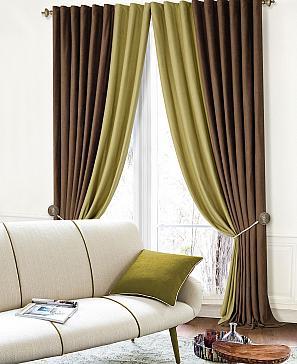 Комплект штор ТомДом Клоум (коричнево-зеленый) фото