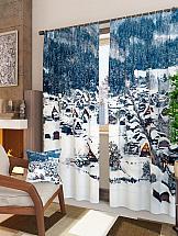 Комплект фотоштор ТомДом Зимняя деревушка комплект фотоштор томдом демин
