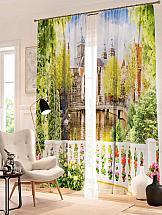 Комплект фотоштор ТомДом Балкон с цветами