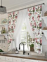 Комплект штор ТомДом Сэнреми с подхватами штора для кухни тд текстиль сент на ленте с 2 подхватами цвет светло бежевый 150 х 180 см 2 шт