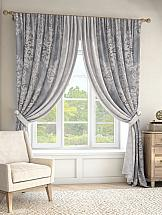 Комплект штор ТомДом Вэлиос (серый). Подшит: 285 см с подхватами комплект штор томдом сарада золотой с подхватами