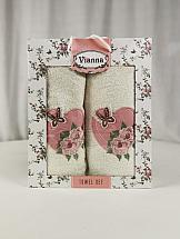купить Комплект полотенец ТомДом Омати (молочный и розовый) дешево