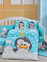 цена Постельное белье ТомДом Пингвинчик (голубой) онлайн в 2017 году