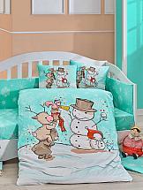 купить Постельное белье ТомДом Снеговички (зеленый с одеялом) недорого