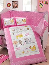 цена Постельное белье ТомДом Зоо-крошки (с одеялом розовый) онлайн в 2017 году