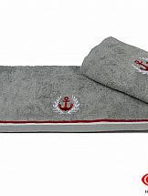 Полотенце ТомДом Махровое полотенце с вышивкой 50x90 MARITIM, серый, 100% Хлопок