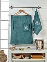 Комплект полотенец ТомДом Эшима (темно-зеленый) килт для бани и сауны главбаня мужской цвет салатовый длина 65 см