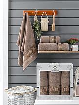 Фото - Комплект полотенец ТомДом Миндри (шоколадный) набор полотенец karna devon цвет зеленый 50 х 90 см 70 х 140 см 2 шт
