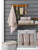 Комплект полотенец ТомДом Миндри (бежевый) коврик для ванной доляна собака 3105610 бежевый 50 х 70 см