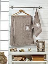 Комплект полотенец ТомДом Эшима (коричневый) килт для бани и сауны главбаня мужской цвет салатовый длина 65 см