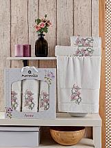 Комплект полотенец ТомДом Хоанс (кремовый) набор махровых полотенец karna esra цвет кремовый 50 х 90 см 70 х 140 см 2 шт