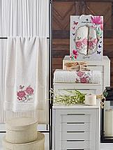 Комплект полотенец ТомДом Оминс (кремовый) набор махровых полотенец karna esra цвет кремовый 50 х 90 см 70 х 140 см 2 шт