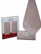 цена Комплект полотенец ТомДом Ларант (темно-розовый) онлайн в 2017 году
