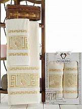 Комплект полотенец ТомДом Манфри (кремовый) набор махровых полотенец karna esra цвет кремовый 50 х 90 см 70 х 140 см 2 шт