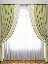 Комплект штор ТомДом Латур (Сливочный/Зеленый) комплект штор тд текстиль алькор на ленте цвет зеленый высота 270 см 98766
