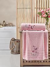 цена Комплект полотенец ТомДом Белина (розовый) онлайн в 2017 году