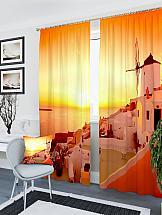 Комплект фотоштор ТомДом Закат в Греции комплект фототюлей сирень земля в лучах солнца на ленте высота 260 см