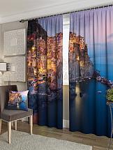 Комплект фотоштор ТомДом Городок у моря комплект фотоштор томдом терраса у моря