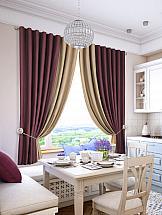 Комплект штор ТомДом Гирос (винно-бежевый) комплект штор для кухни тд текстиль велюшки на ленте 2 шторы 75 х 180 см 2 тюля 140 х 170 см 2 подхвата цвет бежевый темно бежевый