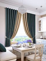 Комплект штор ТомДом Гирос (сине-бежевый) комплект штор для кухни тд текстиль велюшки на ленте 2 шторы 75 х 180 см 2 тюля 140 х 170 см 2 подхвата цвет бежевый темно бежевый
